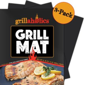 Grillaholics Grill Mat - Set of 3 Heavy Duty BBQ Grill Mats