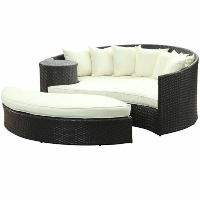 Modway Taiji Outdoor Patio Daybed in Espresso White