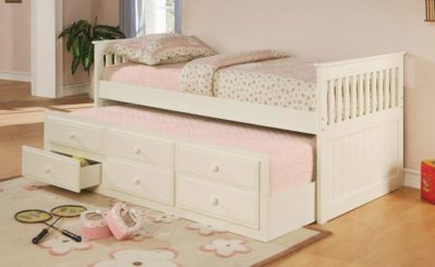 La Salle Twin Captain's Bed with Trundle and Storage Drawers White