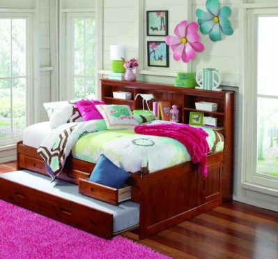 MERLOT FULL CAPTAIN BOOKCASE DAYBED WITH 3 DRAWERS