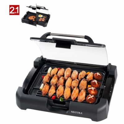 Secura GR-1503XL 1800W Electric Reversible 2 in 1 Grill Griddle