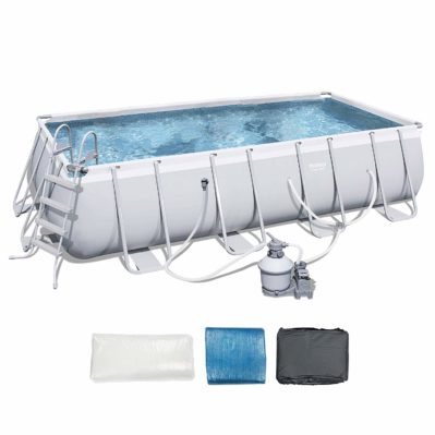 Bestway 18ft x 9ft x 48in Rectangular Frame Above Ground Pool with Ladder - Pump